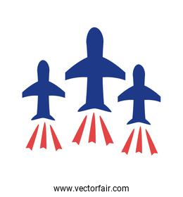 airplanes flying silhouette style icon