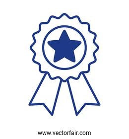 medal with star line style icon