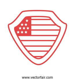 shield with united states of america flag line style