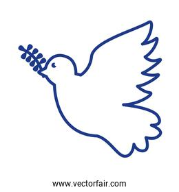 dove with olive branch line style icon