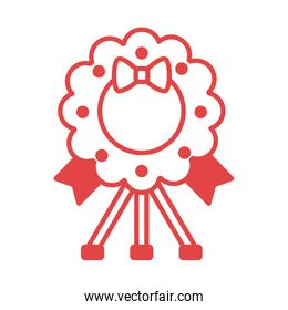 wreath crown with bow red  lines style icon