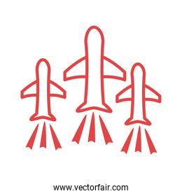 airplanes flying line style icon