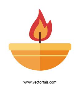 lamp with candle flat style icon