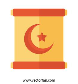 moon night with star in flag flat style icon
