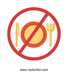 dish with knife and fork in denied symbol flat style