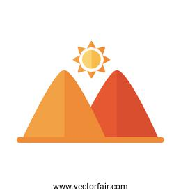 sun star with mountains scene flat style icon