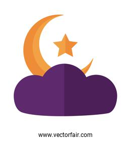 moon night with star in cloud flat style icon