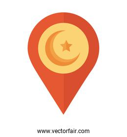 moon night with star in pin location flat style icon