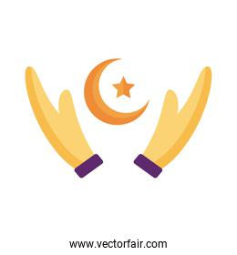 hands lifitng moon night with star flat style icon