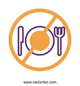 dish with knife and fork in denied symbol line style