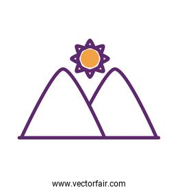 sun star with mountains scene line style icon