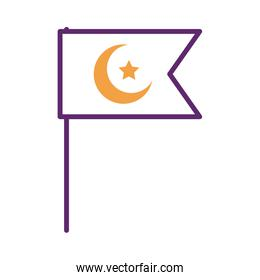 moon night with star in flag line style icon