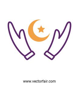 hands lifitng moon night with star line style icon