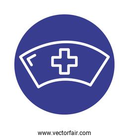 nurse hat with medical cross block style icon