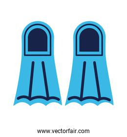 diving fins flat style icon