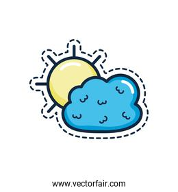 patches concept, sun and cloud icon,, line color style