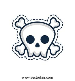 patches concept, skull icon, line color style