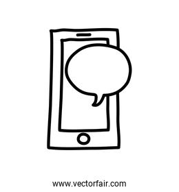 smartphone and speech bubble icon, line style