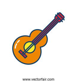 guitar instrument icon, line and fill style