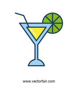 martini cocktail icon, line and fill style