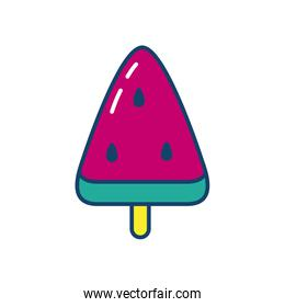 watermelon ice lolly icon, line and fill style