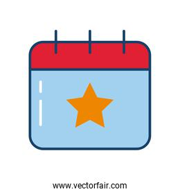 calendar with star, line and fill style icon