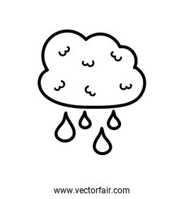 cloud with drops icon, line style