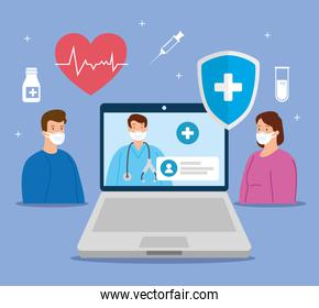 telemedicine technology with doctor in laptop and patients