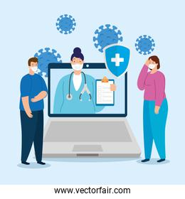 telemedicine technology with doctor female in laptop with people