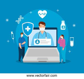 telemedicine technology with doctor in laptop and people