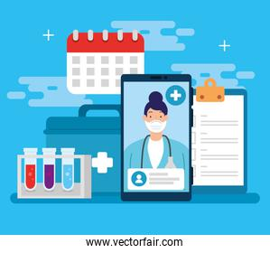 telemedicine technology with doctor female in smartphone and medical icons
