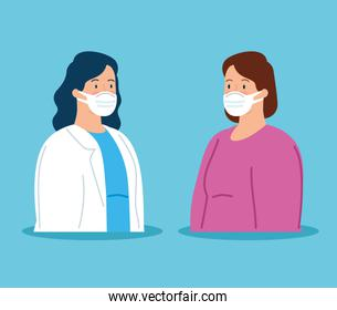 doctor female with woman sick using safety mask