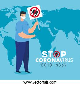 campaign of stop 2019 ncov with man using face mask