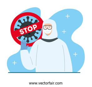 campaign of stop 2019 ncov and person using biohazard suit