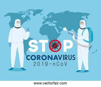 campaign of stop 2019 ncov with persons using biohazard suit