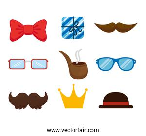 pack of accessories hipster icons
