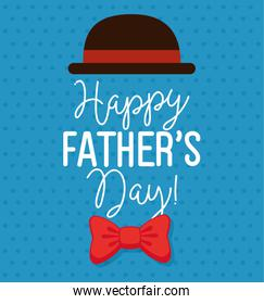 happy fathers day card with hat elegant and bow tie