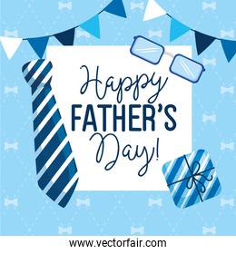 happy fathers day card with garlands hanging and decoration