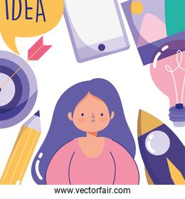 people creativity technology, girl smartphone pencil target rocket and picture idea