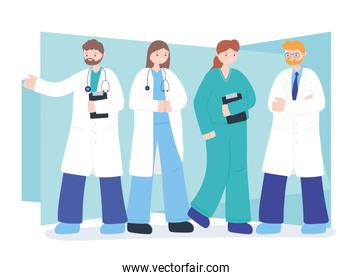 doctors and nurses, team professional physicians nurse staff, medical people characters