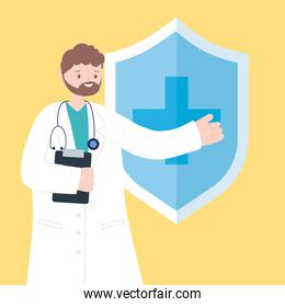 doctors and nurses, physician with clipboard shield protection medical