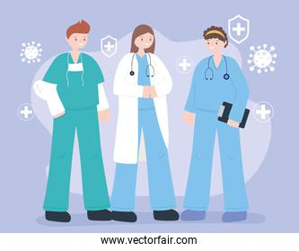 doctors and nurses, team professional physicians nurses staff, medical people characters