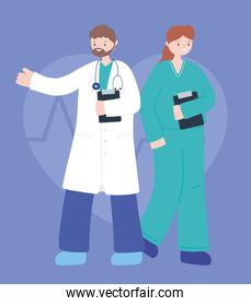 doctors and nurses, male physician and nurse medical professional team