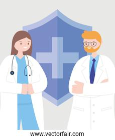 doctors and nurses, female and male physicians staff medical occupation characters