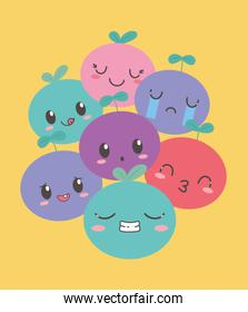 kawaii fruits funny different faces cartoon expression
