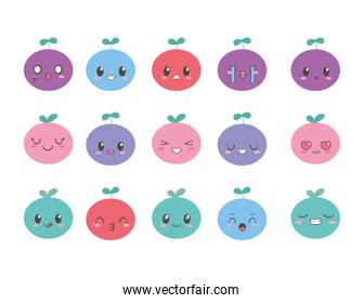 kawaii fruits adorable facial expression cartoon collection