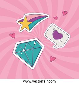 diamond star and heart love patch fashion badge sticker decoration icon
