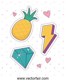 pineapple diamond thunderbolt patch fashion badge sticker decoration icon