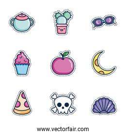 kawaii cactus and patches icon set, line color style