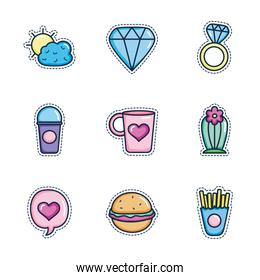 diamond and patches icon set, line color style